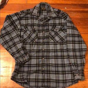 Vermont Flannel Co blue plaid shirt